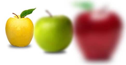 Las personas con hipermetropía, pueden observar muy bien de lejos y no así de cerca. La manzana amarilla que está mas lejos se ve mas clara.