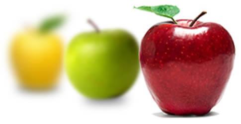 Las personas miopes pueden observar muy bien los objetos cercanos y no así los lejanos. La manzana roja que está mas cerca se ve mas clara.