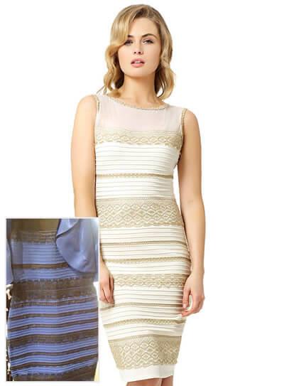 La tienda que creo el vestido ha lanzado una versión en dorado y blanco.
