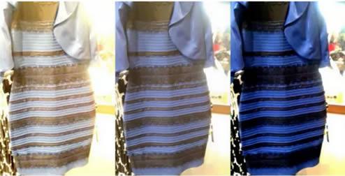 El vestido en diferentes tipos de luz mostrando como puede cambiar la percepción de los colores.