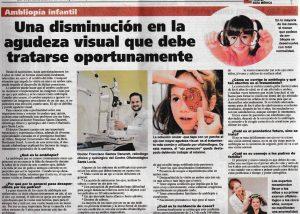 Entrevista al Dr. Dacarett en el diario La Tribuna el 12 de septiembre de 2016 por Una Disminución en la Agudeza Visual que debe Tratarse con Tiempo